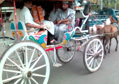 Horse-drawn carriage in old Dhaka