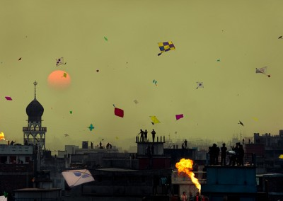 Kites in Dhaka Sky in Shakrain festival