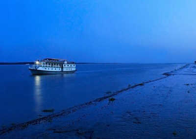 floating boat near kotka beach sundarban
