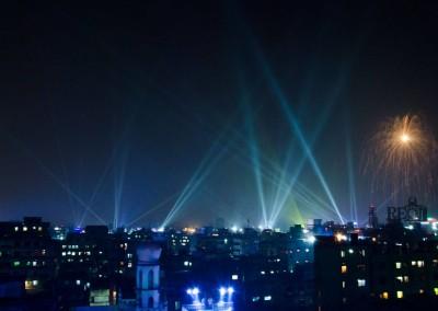 Light show in evening