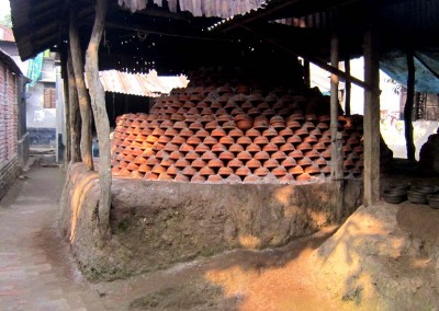 The handmade pottery gathered to be burned